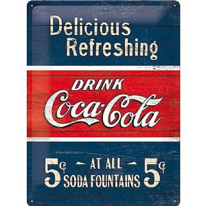 Coca Cola Delicious Refreshing large embossed steel sign   (na 4030)